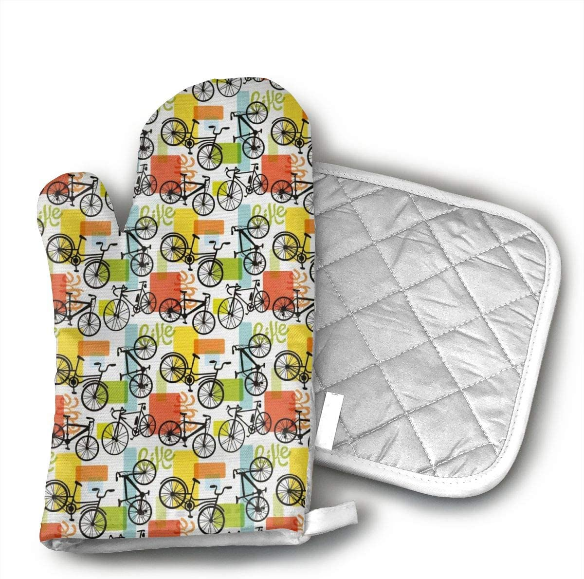 EROJfj Bicycle Sketch Vintage Style Oven Mitts and Potholders BBQ Gloves-Oven Mitts and Pot Holders Non-Slip Cooking Gloves for Cooking Baking Grilling