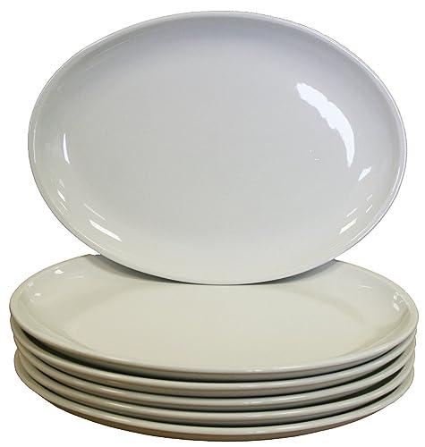 White Oval Coupe Plates Crockery Dinner Set - 305x242mm 12x9.5  (Box 6  sc 1 st  Amazon UK & Superwhite Squashed Oval Unusual Shape Dinner Plate Set of 6 35cm x ...