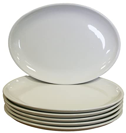 White Oval Coupe Plates Crockery Dinner Set - 305x242mm 12x9.5u0026quot; ...  sc 1 st  Amazon UK & White Oval Coupe Plates Crockery Dinner Set - 305x242mm 12x9.5