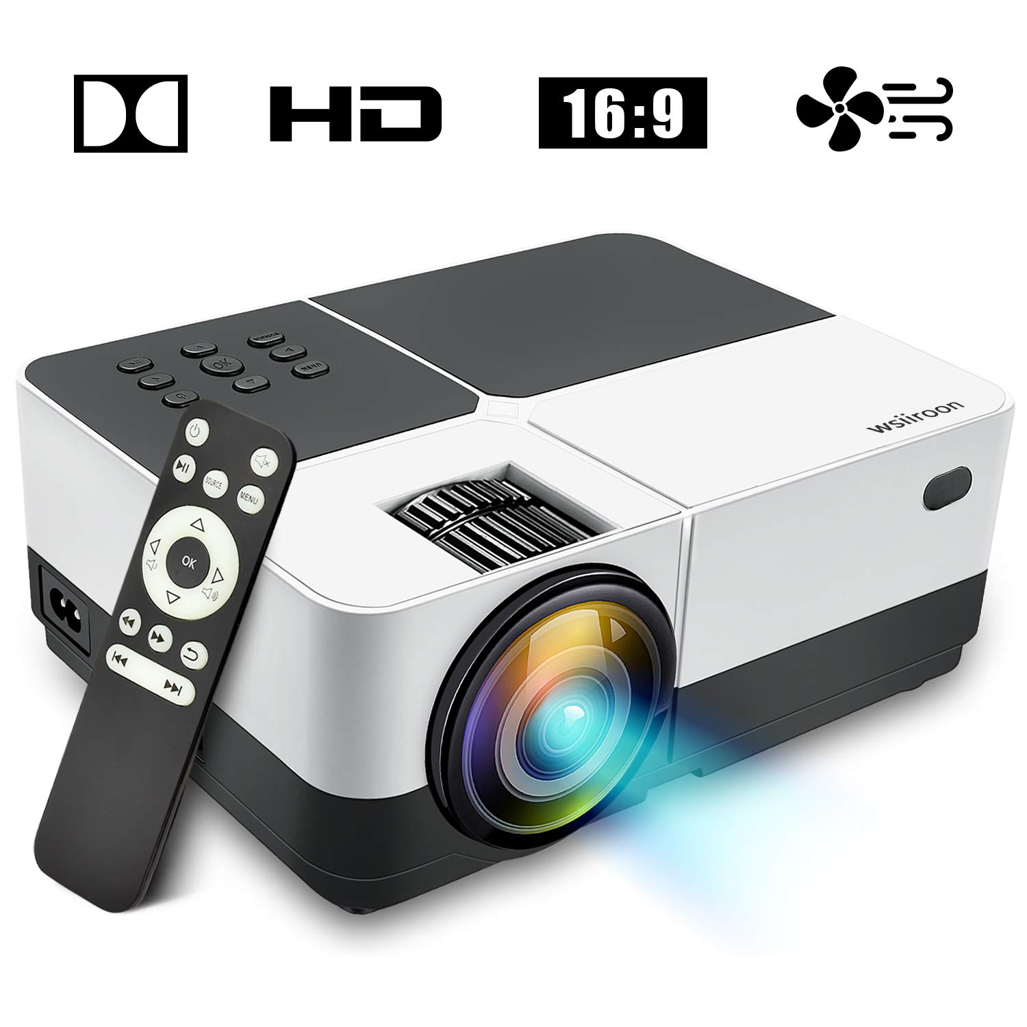Wsiiroon LED Projector, 2019 Newest Outdoor Portable Movie Video Projector, Home Theater LCD Projector Support 1080P HDMI VGA AV USB SD with 170'' Display - 45,000 Hrs by wsiiroon (Image #1)