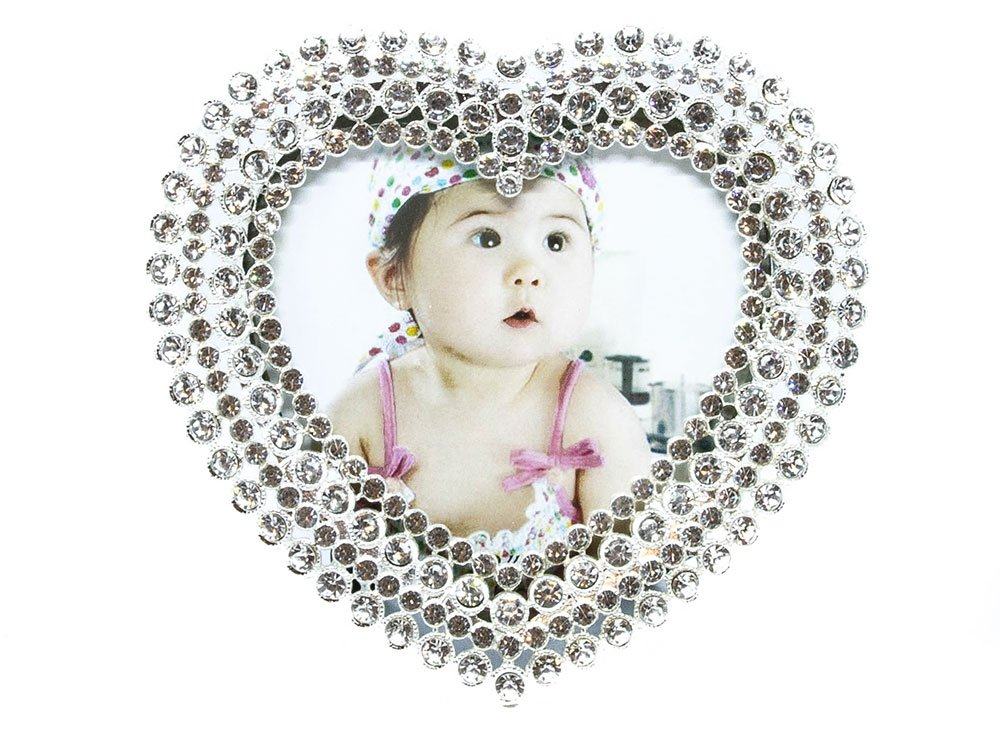 Haysoms Heart Shaped Silver Plated Photo Frame Crystal, Metal, 1.5 x 10 x 10 cm HA190-YM