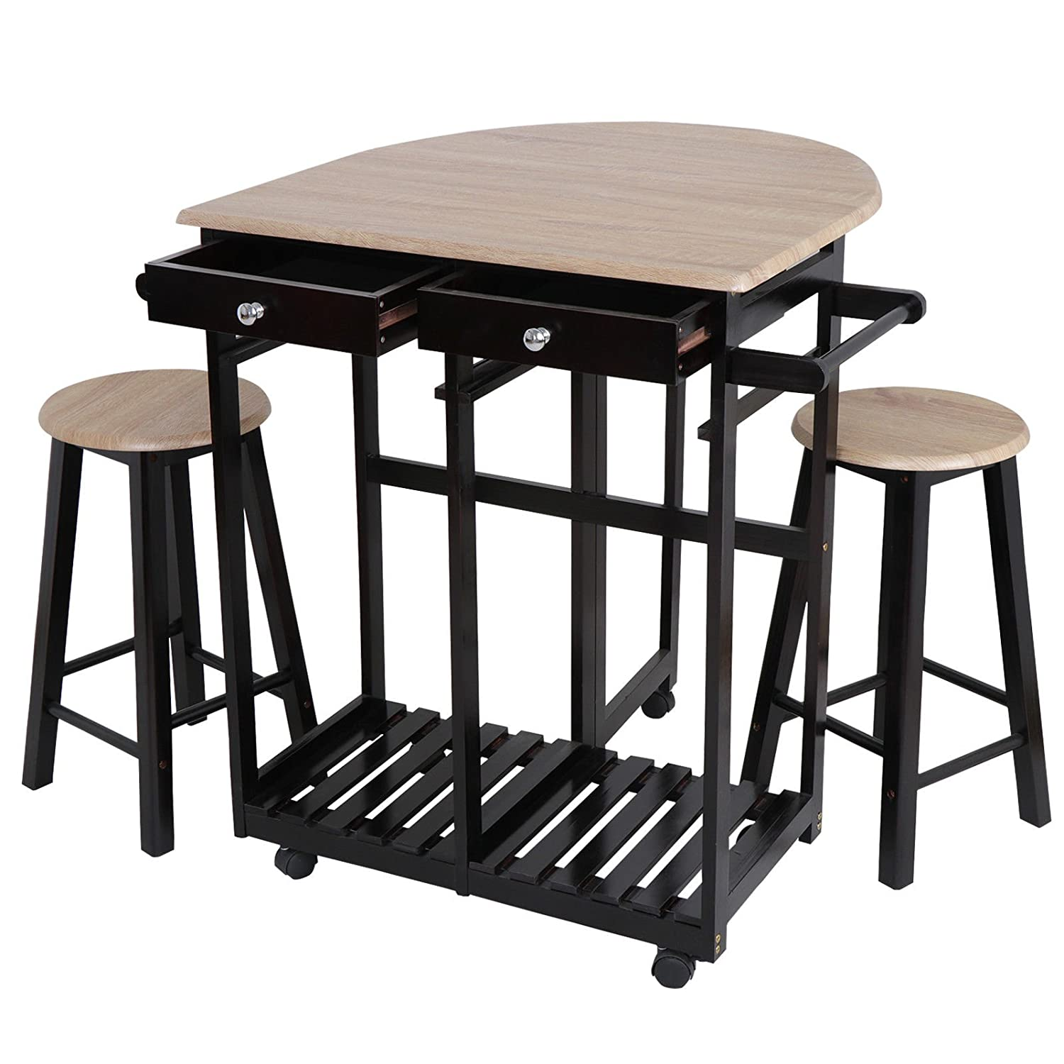 Has_Shop Dining Table Set Wood Space Saving Foldable Tabletop Kitchen Island W/ 2 Stools