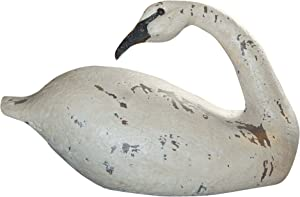 Hickory Manor House Vintage Blanc Topsail Swan for Home Decor, 16-Inch