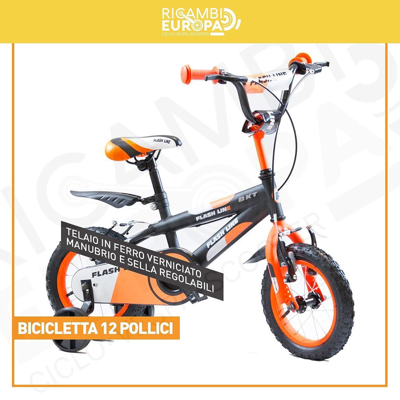 BAKAJI &apos Fahrrad Fahrrad 12 (Zoll) Baby Kind-Line Farbe Orange Fluo Schwarz