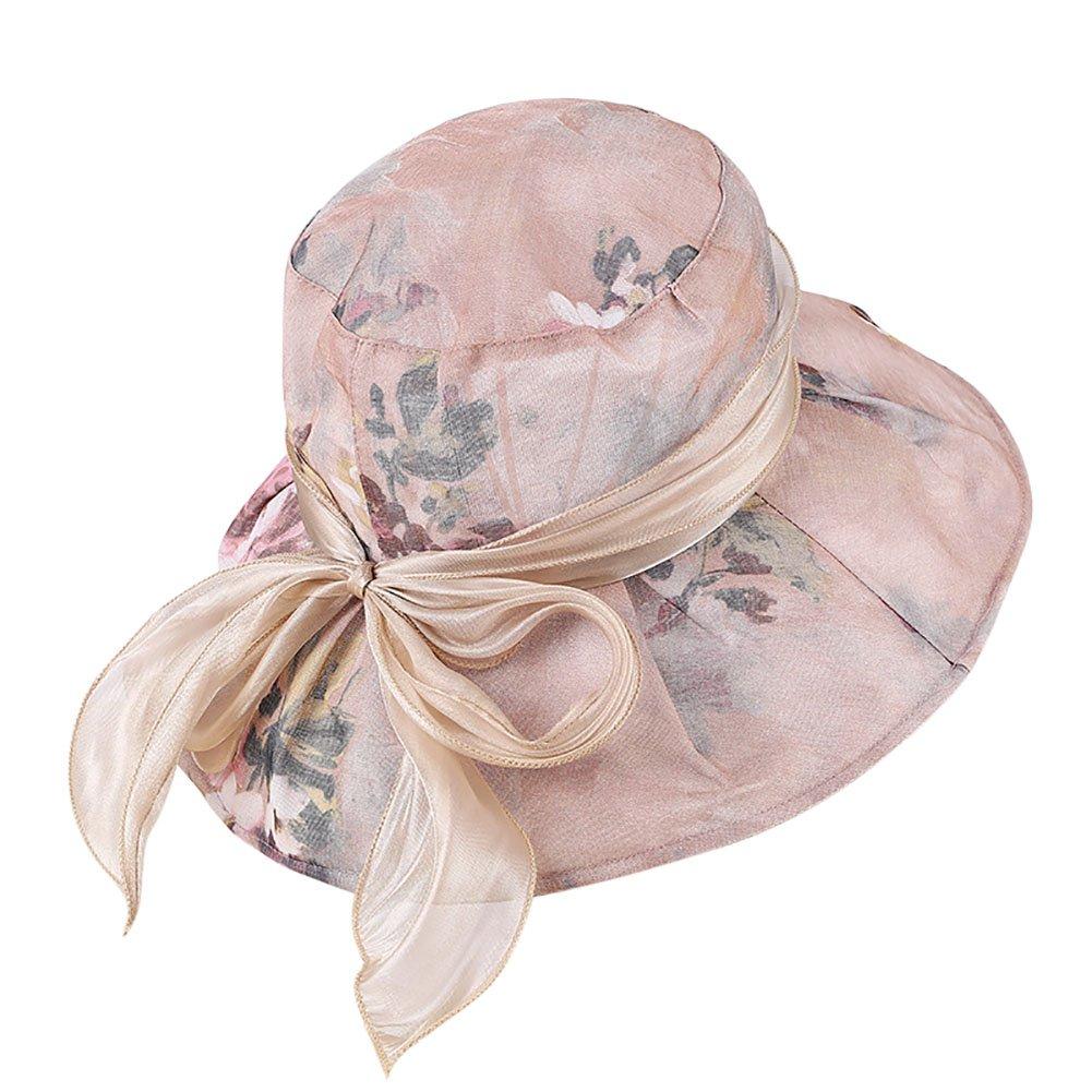 8e0fb0f5a6d Lothver Fashionable Cotton Large Wide Brim Sun Hat Summer Folding Anti-UV Bowknot  Hat Brim Bucket Hat For Women at Amazon Women s Clothing store