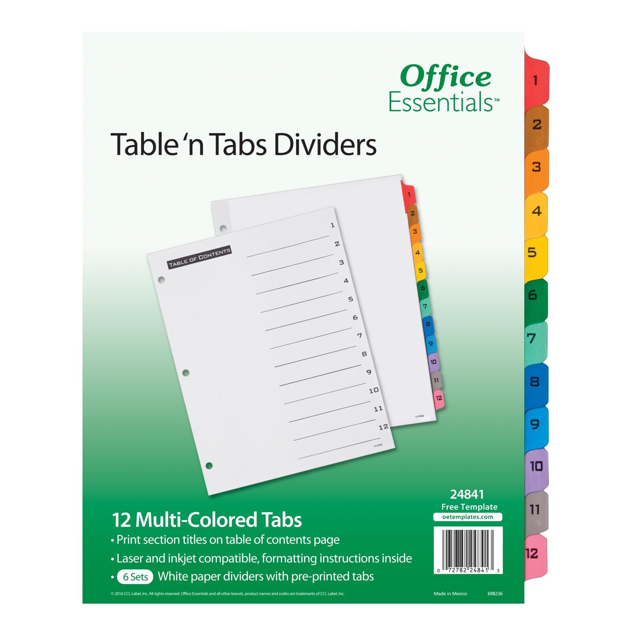 Office Essentials Table 'n Tabs Dividers, 8-1/2'' x 11'', 1-12 Tab, Multicolor Tab, Laser/Inkjet, 6 Pack, 24841)