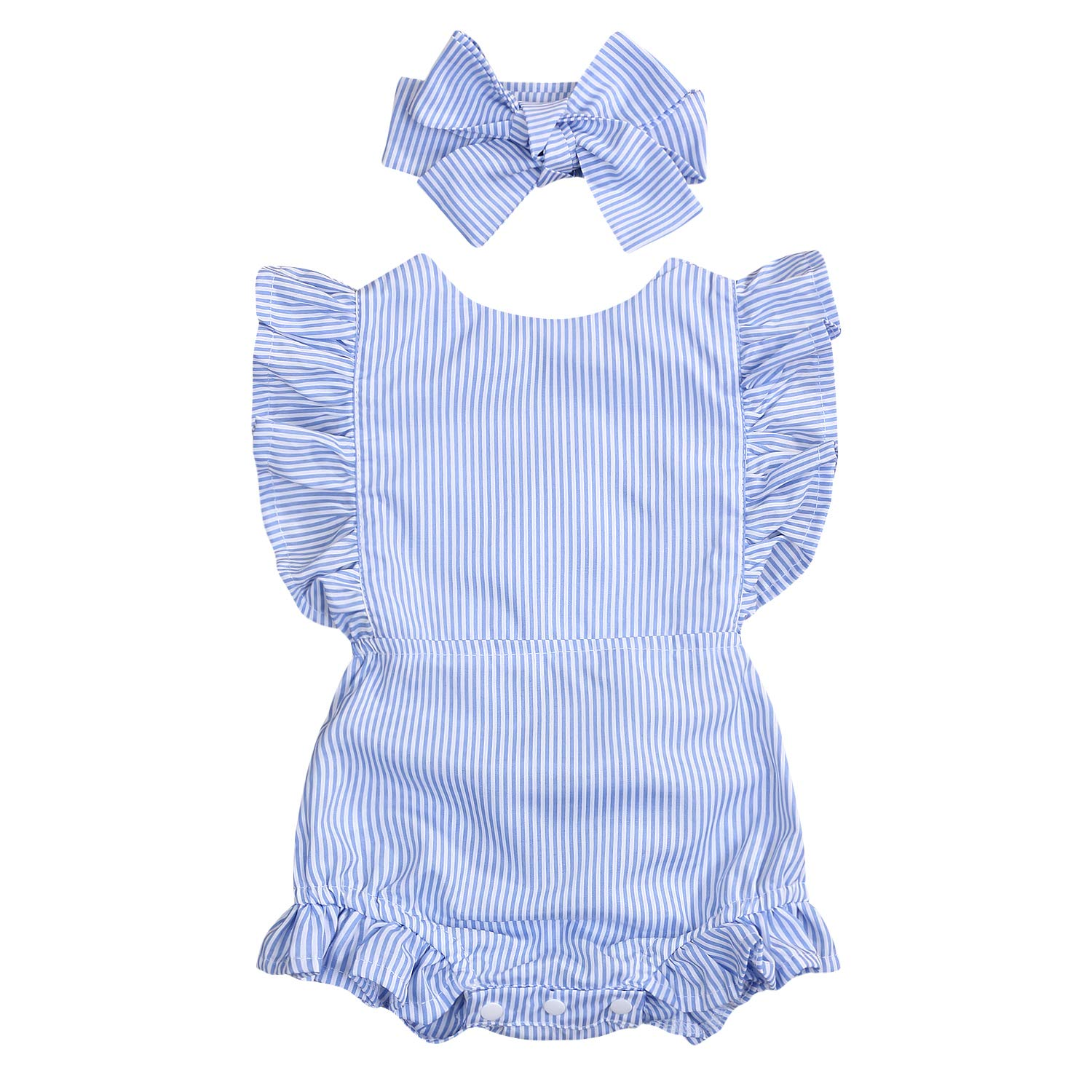 Newborn Infant Baby Girls Romper Striped Bodysuit Flysleeve Halter Jumpsuit Baby Girls Clothes