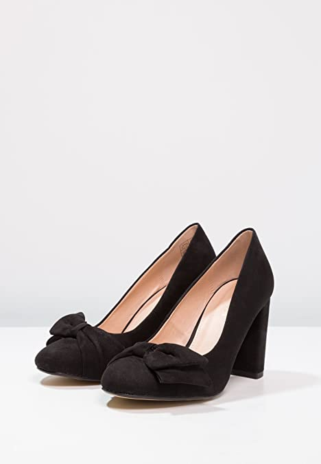 Anna Field Tacones de Gamuza - Zapatos Elegantes con Lazo - Zapatos Altos con Tacón de Bloque y Punta Redonda - Tacones de Mujer: Amazon.es: Zapatos y ...