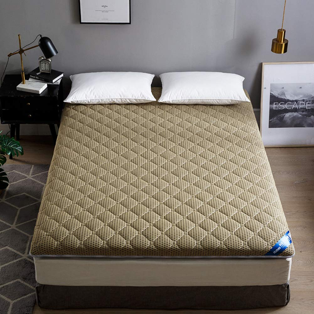 Love Home Fußmatte, Tatami-Matratzen-Auflage, atmungsaktiv, japanische einfarbige Farbe, Vierjahreszeiten-Schlafmatratze, Schlafmatte, Schaumstoff, Kaffeebraun, 200x220cm(79x87inch)