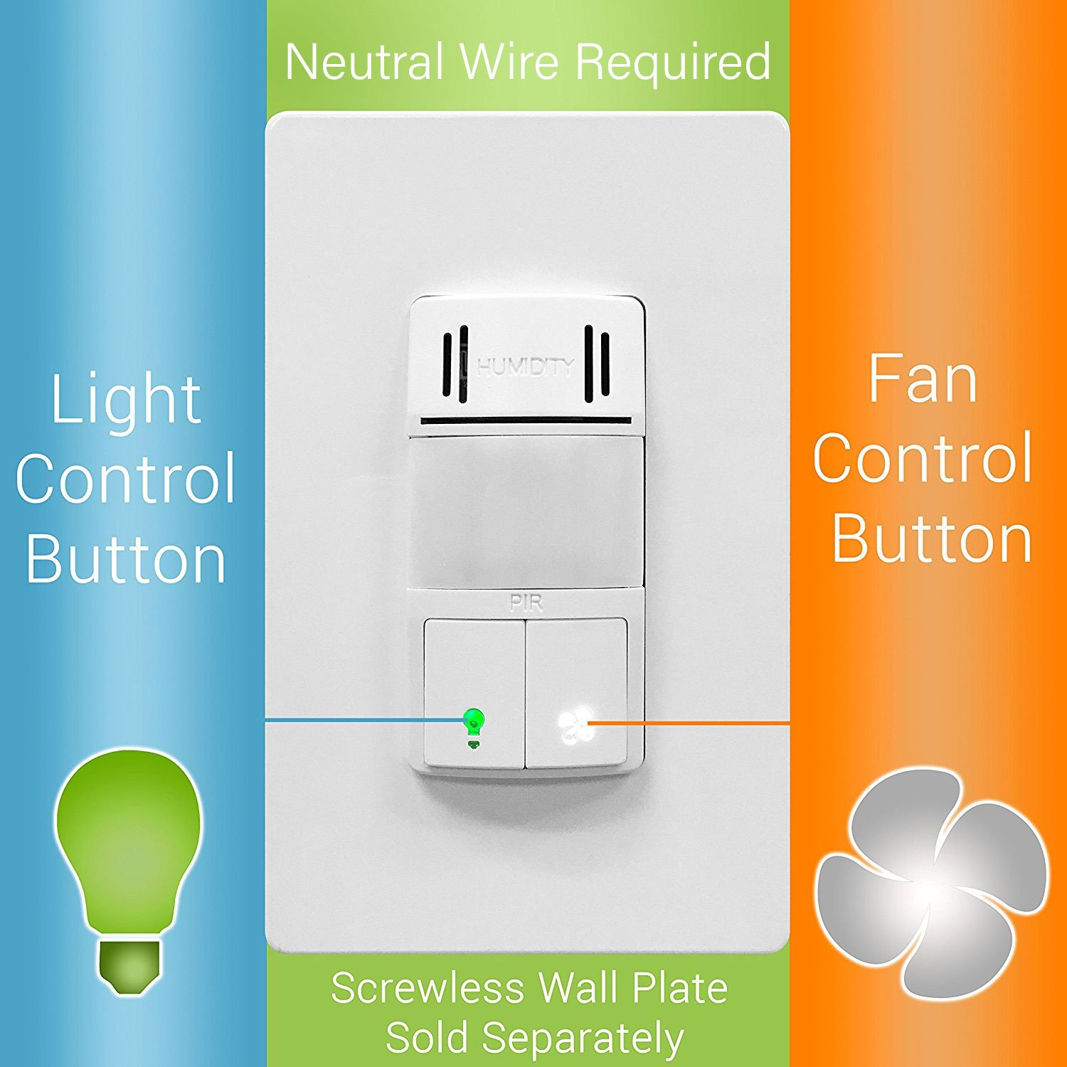 Topgreener Tdhos5 2pcs Humidity Sensor Switch Dual Tech And Neutral Wires That Have Been Switched As A Reference The American Pir Motion For Separate Fan Light Control Wire Required White