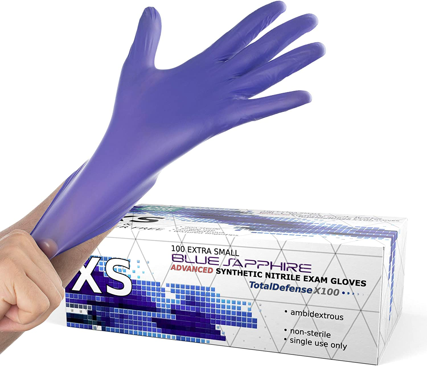 Powder Free Disposable Gloves X Small - 100 Pack - Nitrile and Vinyl Blend Material - Extra Strong, 4 Mil Thick - Latex Free, Food Safe, Blue - Medical Exam Gloves, Cleaning Gloves