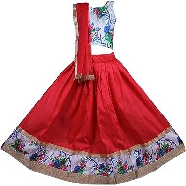 6be0922037 NAJARA FASHION Silk Girl's Printed Lehenga Choli Set: Amazon.in: Clothing &  Accessories