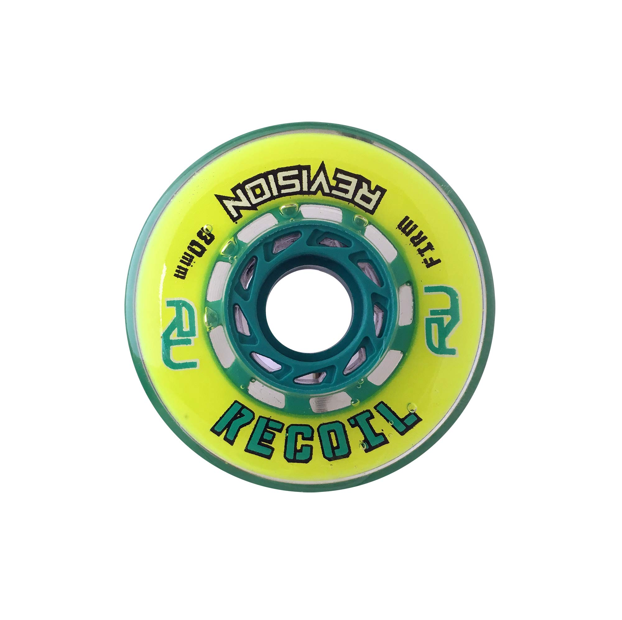 Revision Recoil Indoor Inline Roller Hockey Wheel - 74A - 80mm Firm - Yellow & Teal by Revision Hockey
