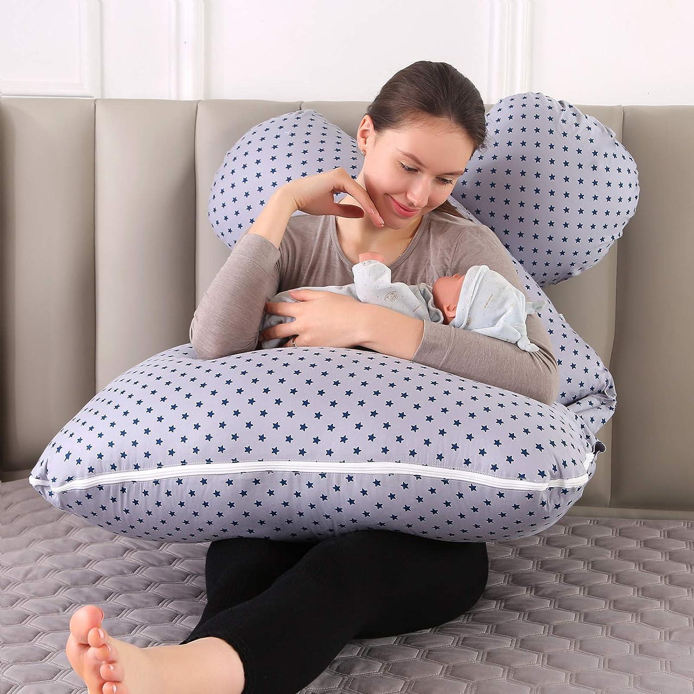 J-f/örmiges Schwangerschaftskissen Komfort Seitenschl/äferkissen Schwangerschaft Lagerungskissen mit Abnehmbarem und Waschbarem Bezug Unterst/ützung f/ür R/ücken Bauch H/üften Beine