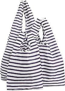 BAGGU Small Reusable Shopping Bag, Ripstop Nylon Grocery Tote or Lunch Bag, Sailor Stripe