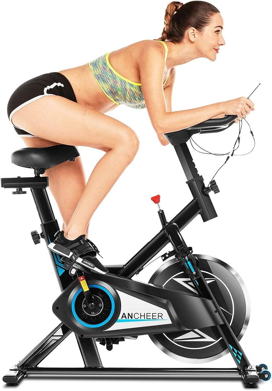 ANCHEER Bicicleta Estática de Spinning Bicicleta Interior Volante 10 kg, Pantalla LCD, Sillín Ajustable, Máximo Usuario120 kg