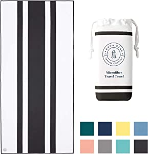 "Black Microfiber Beach Towel by Laguna Beach Textile Co - Sand Free, Light Weight Striped Pool Towel - Perfect for Yoga, Gym, Beach, Pool - Extra Large, 35"" x 75"" - Noir"