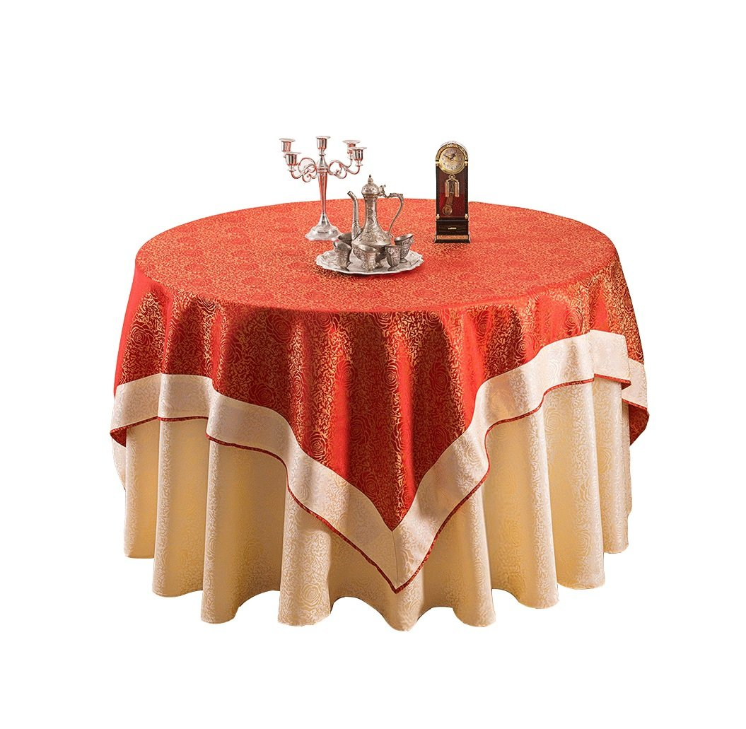 European style luxury fabric tablecloths home wedding restaurant round tablecloths ( Color : Red , Size : 1.5m )