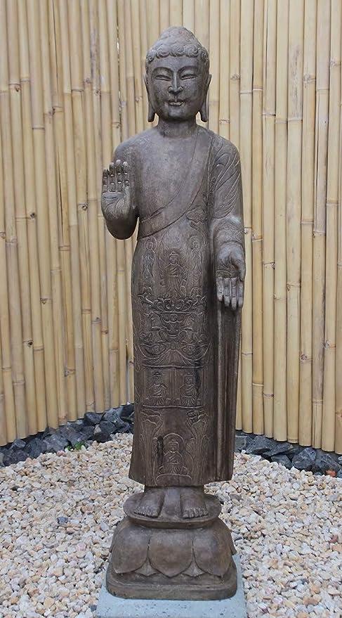 Asia Lifestyle Jardín Buda Estatua (152 cm) de piedra natural – Escultura de Buda con capa especial: Amazon.es: Jardín