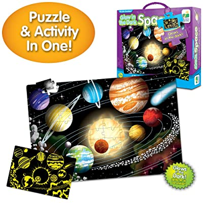 The Learning Journey Puzzle Doubles Glow in the Dark - Space - 100 Piece Glow in the Dark Preschool Puzzle (3 x 2 feet) - Educational Gifts for Boys & Girls Ages 3 and Up: Toys & Games
