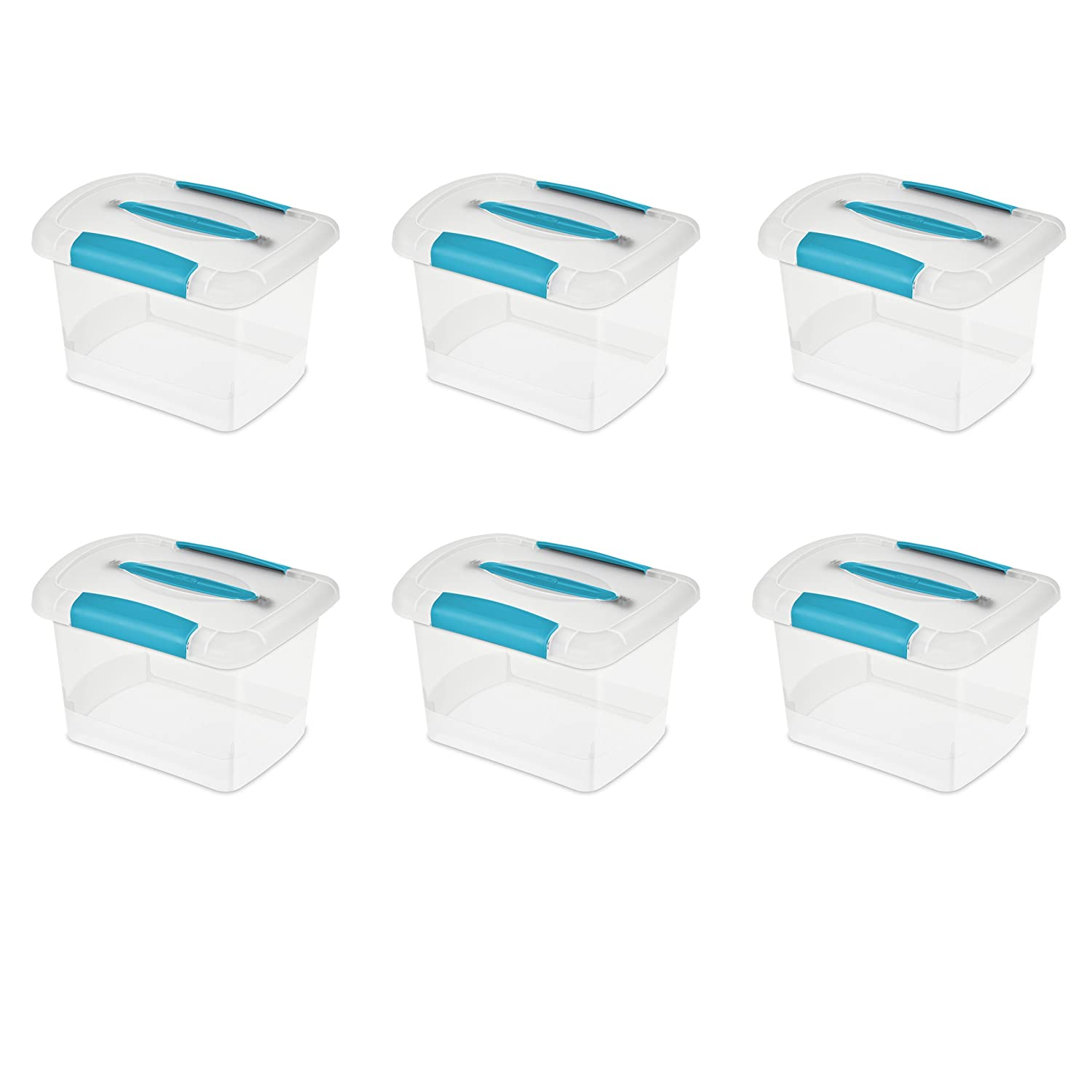 Sterilite 18728606 Small Nesting ShowOffs, Clear with Blue Aquarium Handle and Latches, 6-Pack