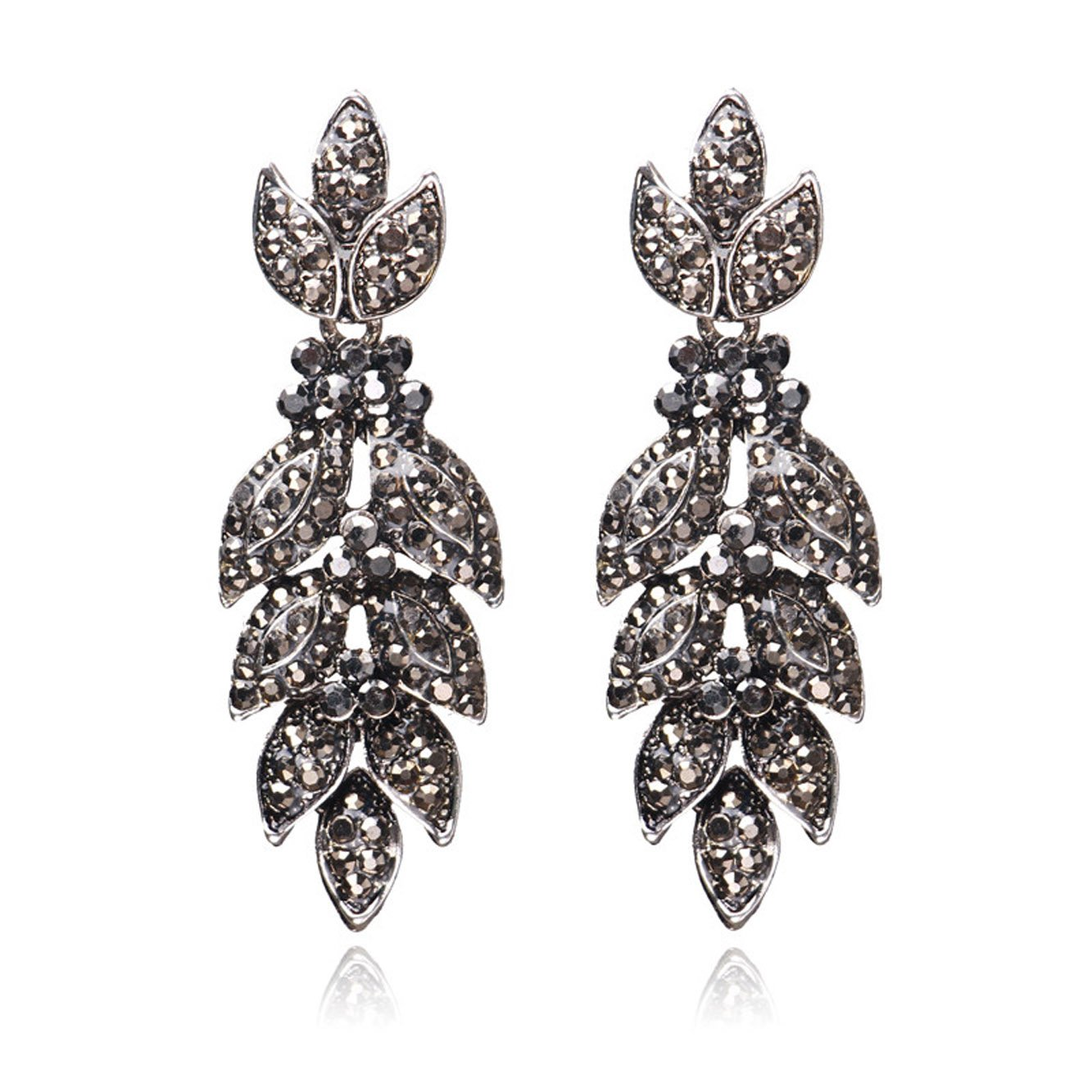 Unicra Vintage Black Crystal Stud Earrings Wedding Bridal Multiple Rhinestone Earrings Chandelier Long Dangle Earrings for Women and Girls by Unicra (Image #1)