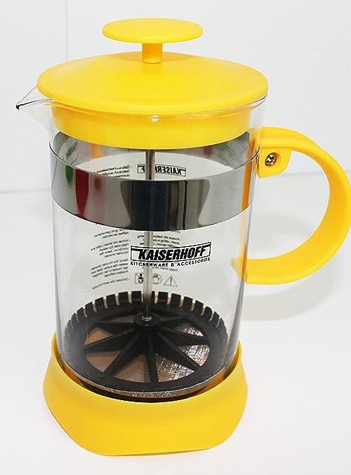Sirve como cafetera tetera tetera/cafetera de filtro de vidrio/plástico 800 ml amarillo French Press: Amazon.es: Hogar