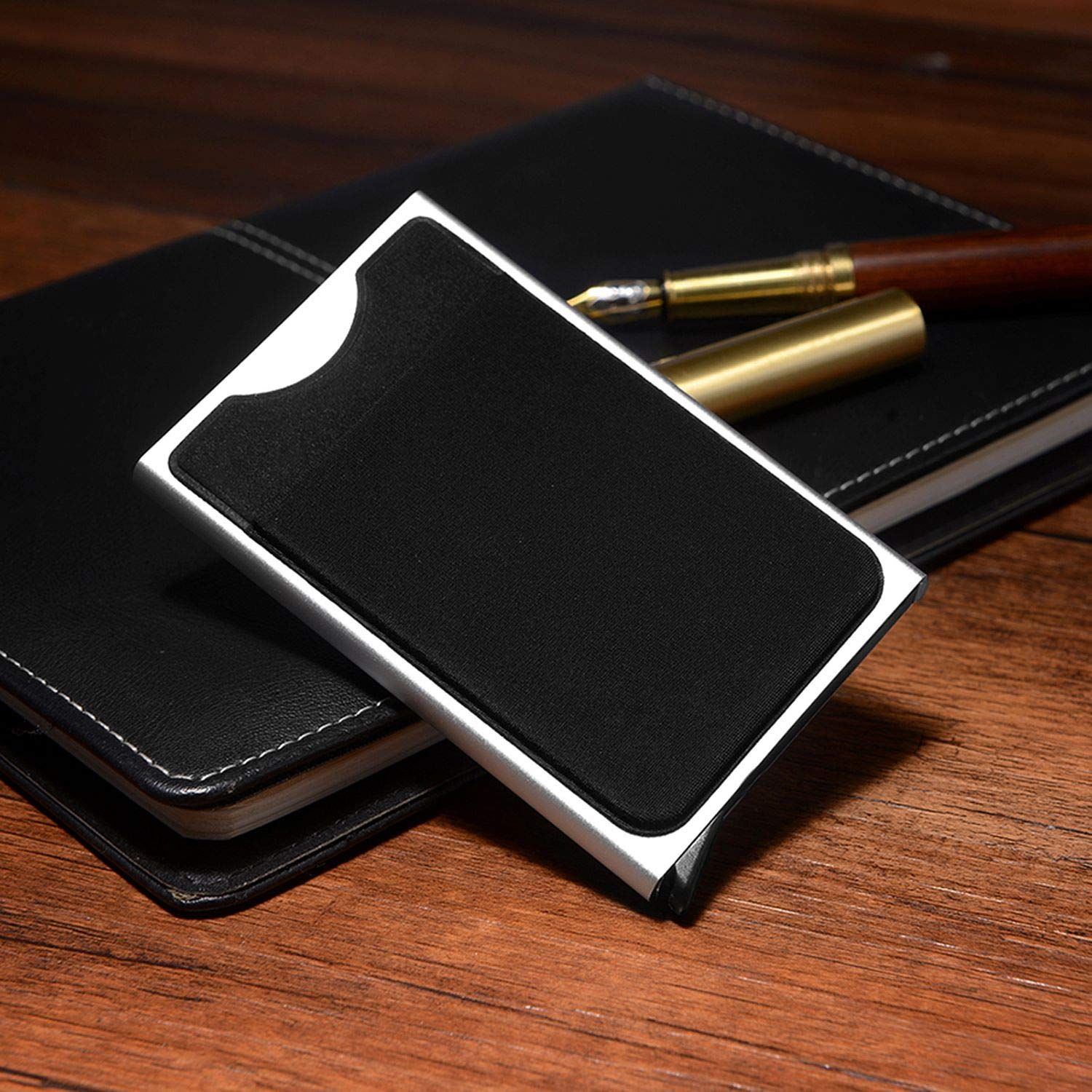 Slim Slide Card Holder Wallet Business Card Case Money Pocket Protector,Black