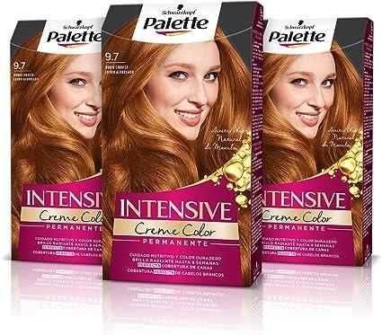 Schwarzkopf Palette Intensive Creme Color – Tono 9.7 cabello Rubio Cobrizo (Pack de 3) - Coloración Permanente de Cuidado con Aceite de Marula, ...