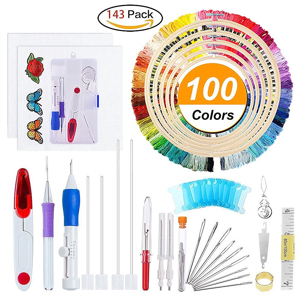 Magic Embroidery Pen Punch Needle (Upgraded), Embroidery Punch Needle Kit Including Embroidery Pen, Embroidery Hoop, 50 Color Threads, Natural Linen Embroidery Fabric and Embroidery Stabilizer Carole4