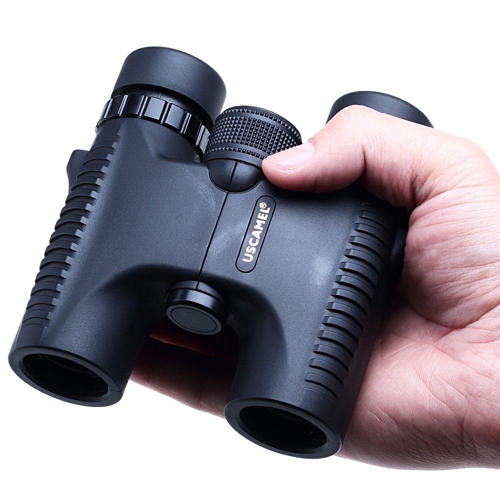 Negro USCAMEL Mini Prism/áticos Compactos 10x25 Compactos y Livianos con Lente de Alta Resoluci/ón Totalmente Recubierto