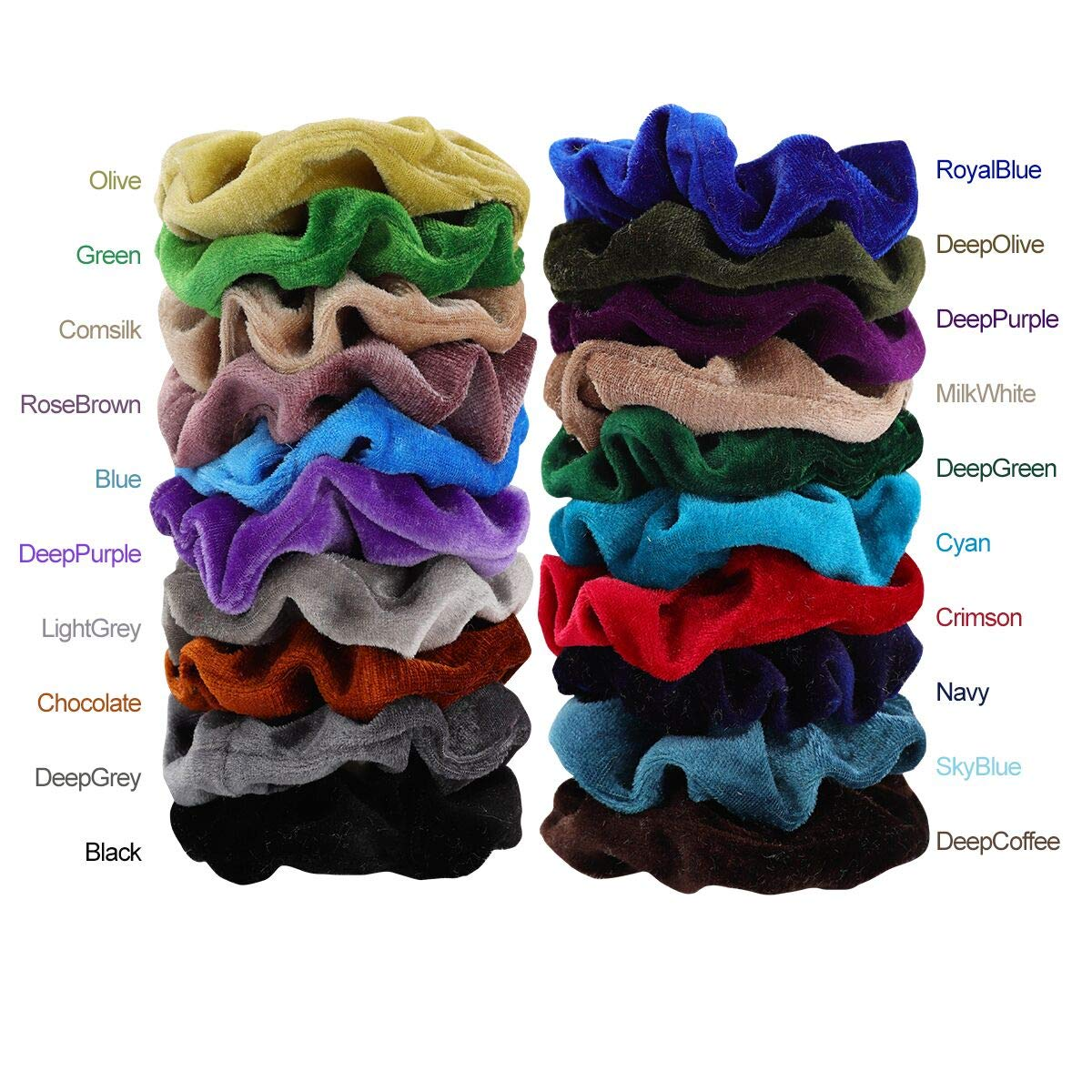 Mandydov 40pcs Hair Scrunchies Velvet Elastic Hair Bands Scrunchy Hair Ties Ropes 40 Pack Scrunchies for Women or Girls Hair Accessories - 40 Assorted Colors Scrunchies by Mandydov (Image #5)