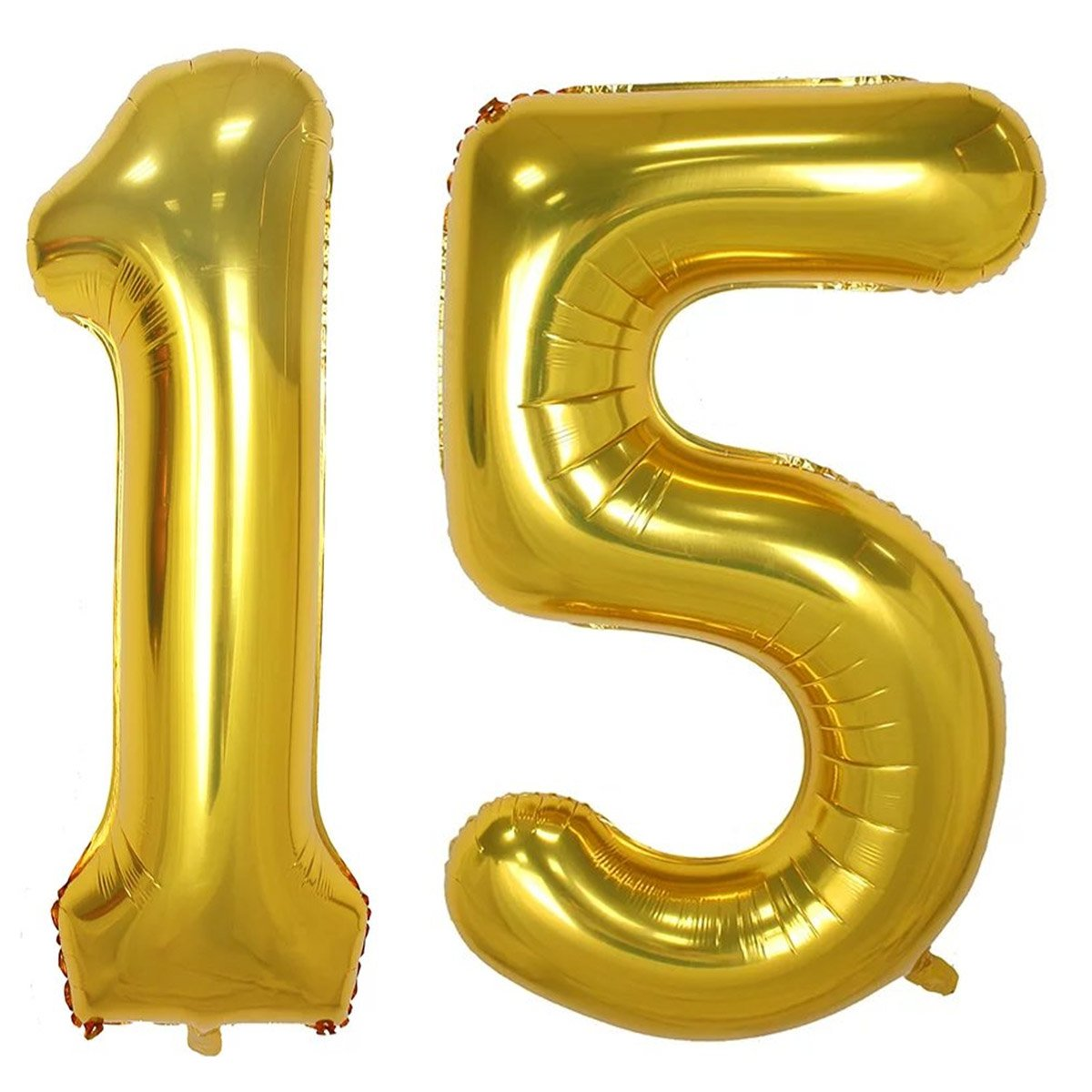 100cm Gold Foil 15 Helium Jumbo Digital Number Balloons, 15th Birthday Decoration for Girls or Boys, sweet 15 Birthday Party Supplies   B07BFB87XL