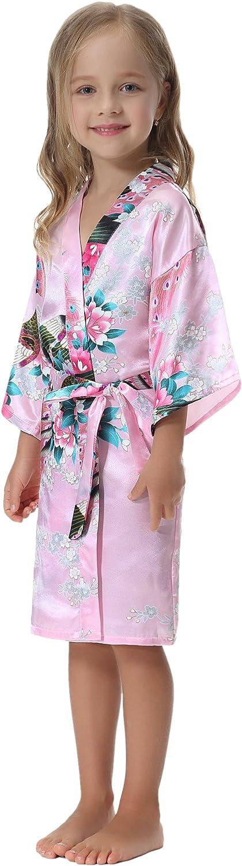 Aibrou Girls Peacock Satin Kimono Robe Bathrobe Nightgown for Party Wedding