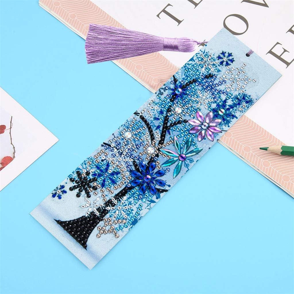 marcadores de libro de bricolaje con borla para ni/ños regalos para Navidad A/ño Nuevo cumplea/ños mosaicos GOTONE 3 piezas 5D Marcador de pintura de diamante manualidades principiantes adultos