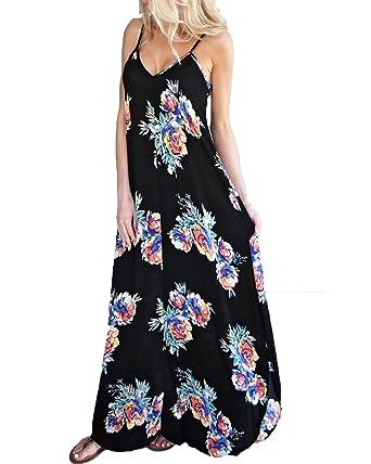 82abbaf4c97 Kidsform Women s Sleeveless V Neck Floral Print Spaghetti Straps Summer  Boho Party Maxi Dresses