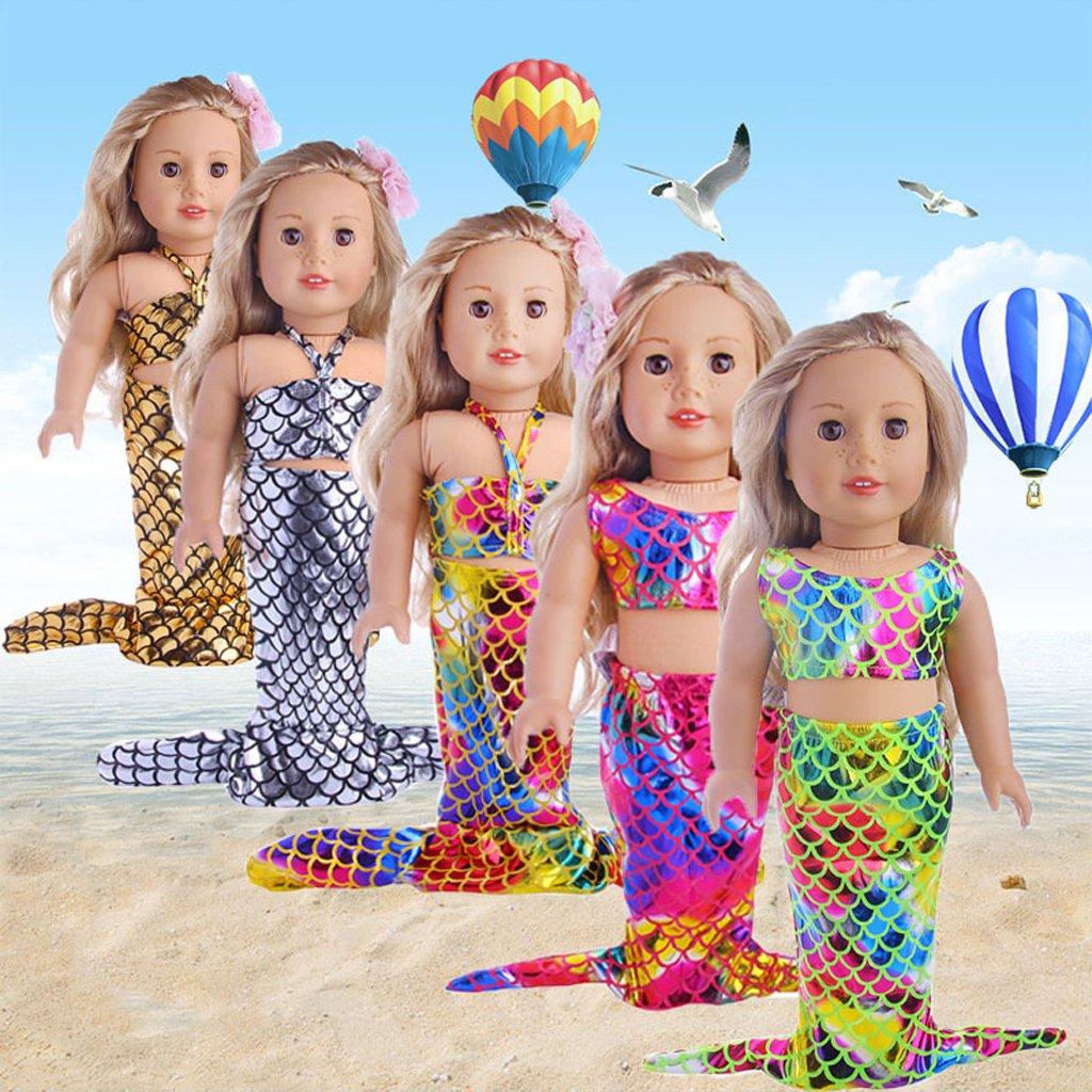 Baoblaze Modische Meerjungfrau Schwanz Puppenkleid & Top Badebekleidung Für 18 Zoll Mädchen Puppe - # 1