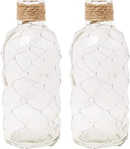 Hosley Set of 2 Glass Wire Mesh Vase 8.5 Inch High for Nautical Country Farm Floral Arrangement Candle Garden Aromatherapy as a Reed Diffuser. Ideal Gift for Weddings Party Spa Reiki O9
