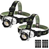 LE LED Headlamp, 4 Lighting Modes, Lightweight Headlight for Outdoor, Camping, Running, Hiking, Reading and more, AAA Batteries Included, Pack of 2