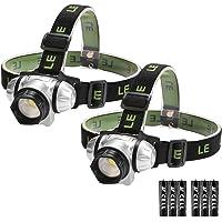 LE LED Stirnlampe, Vier Lichtmodi mit 2 Rote LED Kopflampe,Batterien inklusive