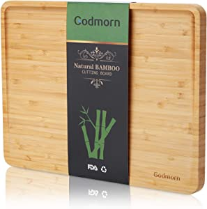 BambooCuttingBoard forKitchen with Juice Groove, Godmorn Large Chopping Board for Meat,Vegetable,Cheese, Food, 2021-Updated Slope Design ,15 x 11