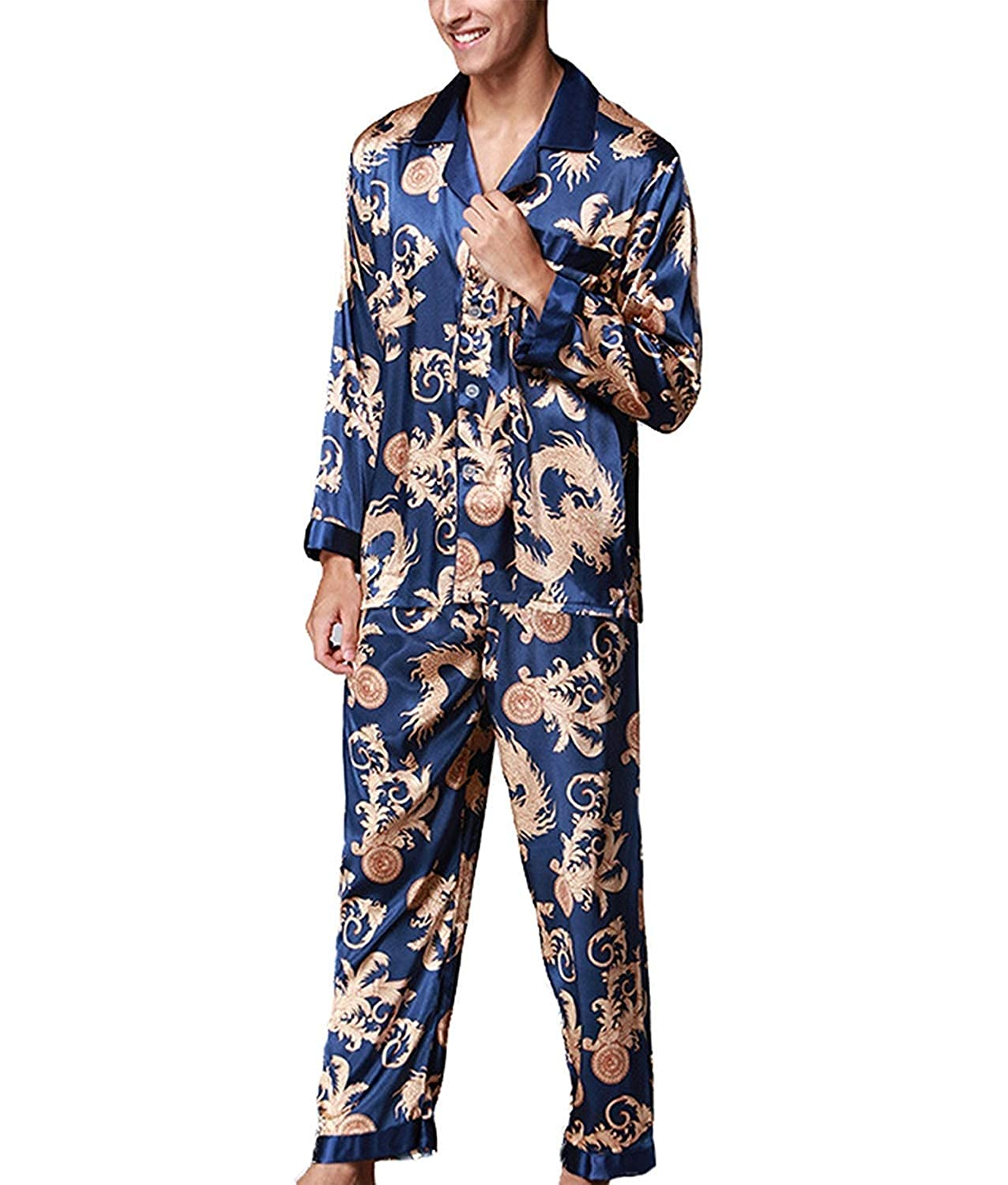 11f5a61692 Pajamas Men Men Pajamas Tops Sets Pants and Silky Comfortable Homewear  Sleep Fashion Brands Negligee Shirts Two Piece Set  Amazon.co.uk  Clothing