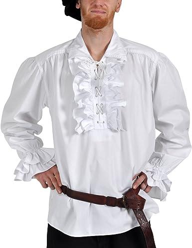 Traje de los Hombres: Volantes Camisa Blanca con cordón - M: Amazon.es: Ropa y accesorios