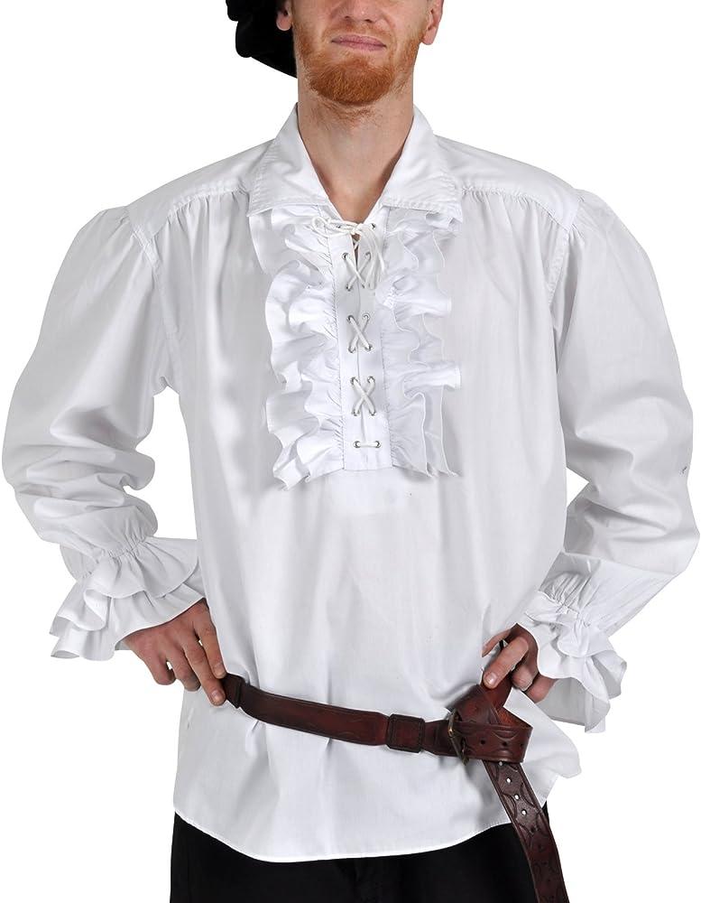 traje de los hombres: volantes camisa blanca con cordón - S: Amazon.es: Ropa y accesorios