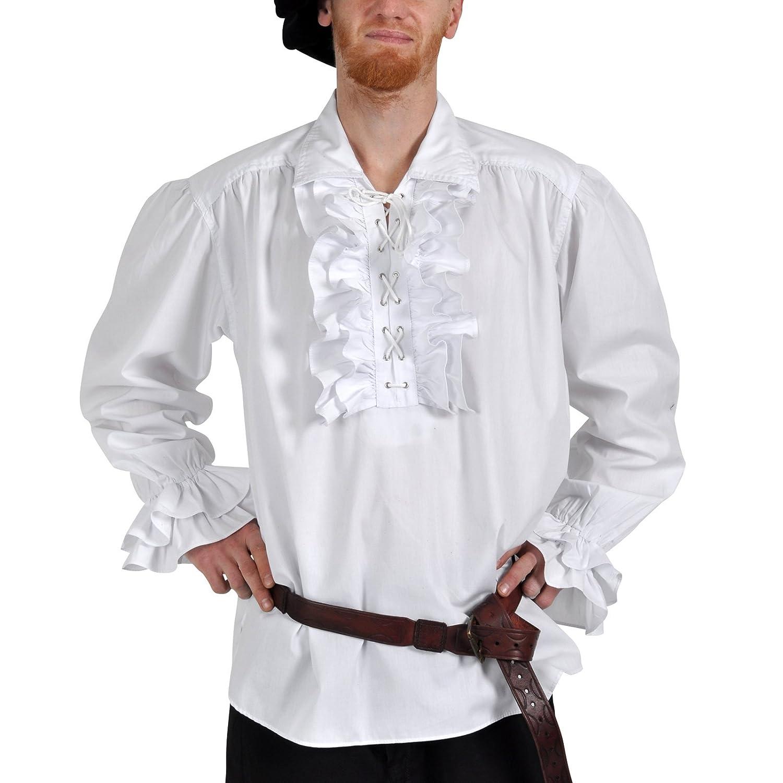 traje de los hombres: volantes camisa blanca con cordón - M ...