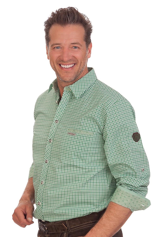 H1556 - Trachtenhemd mit Krempelarm - ALBERICH - rot, grün