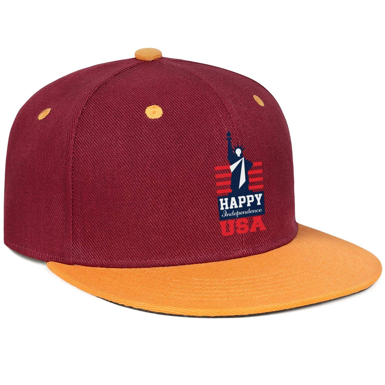 KYTKYTT Unisex Mesh Snapback Cap 4th of July Independence Day Badge Logo Retro Flat Hip Hop Baseball Hat