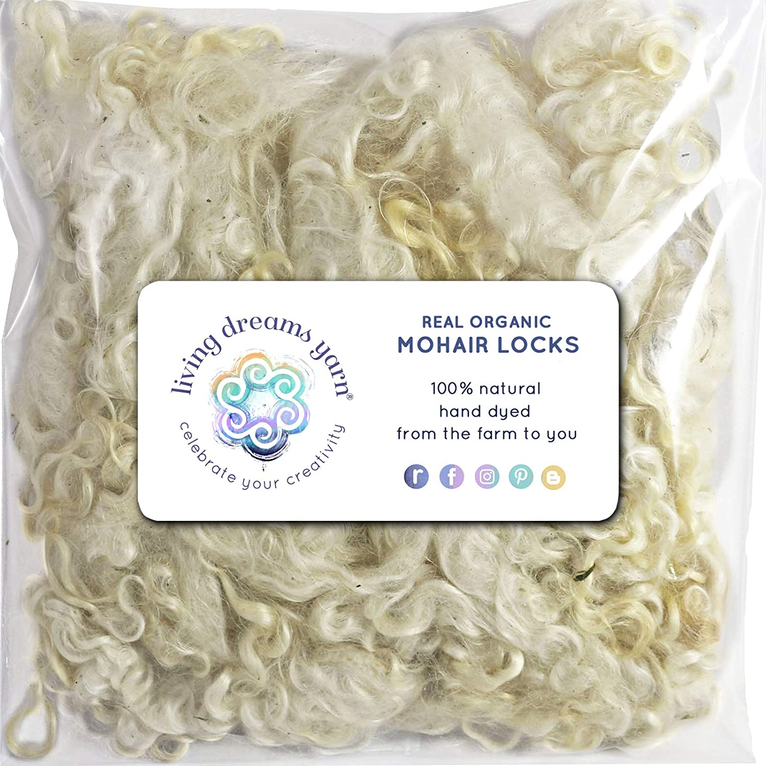 Paper Craft Spinning 1 Ounce Natural White Felting Doll Hair and Embellishments Living Dreams Real Natural Mohair Wool Fiber Locks for Knitting