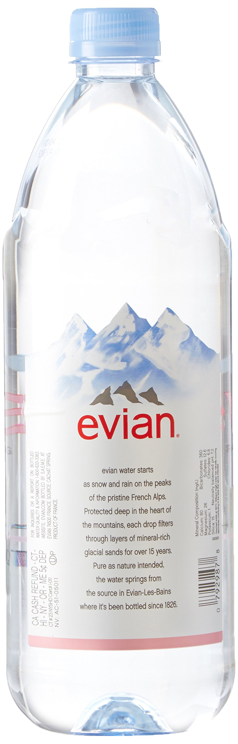 Evian Natural Spring Water (One Case of 12 Individual Bottles, each bottle is 1 liter) Naturally Filtered Spring Water in Large Bottles by evian (Image #3)