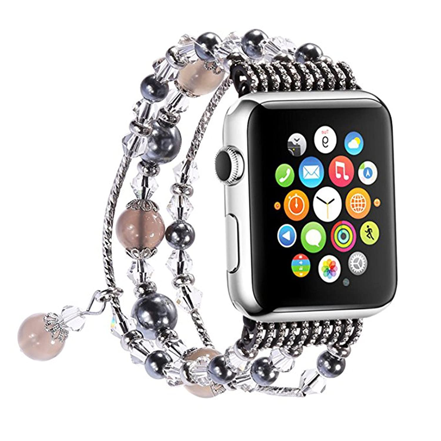 Apple Watch Band, Fashion Handmade Faux Pearl Natural Stone Bracelet Replacement iWatch Strap Women Girls for Apple Watch Series 2 Series 1 All Version by Antais